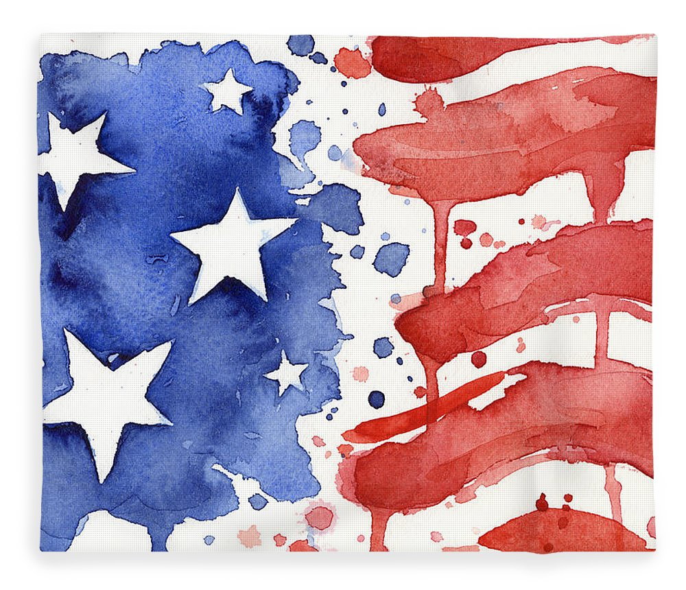 Red Fleece Blanket featuring the painting American Flag Watercolor Painting by Olga Shvartsur