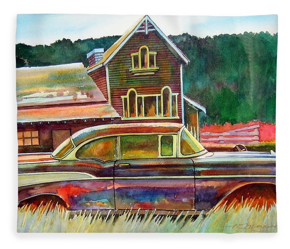 57 Chev Fleece Blanket featuring the painting American Heritage by Ron Morrison