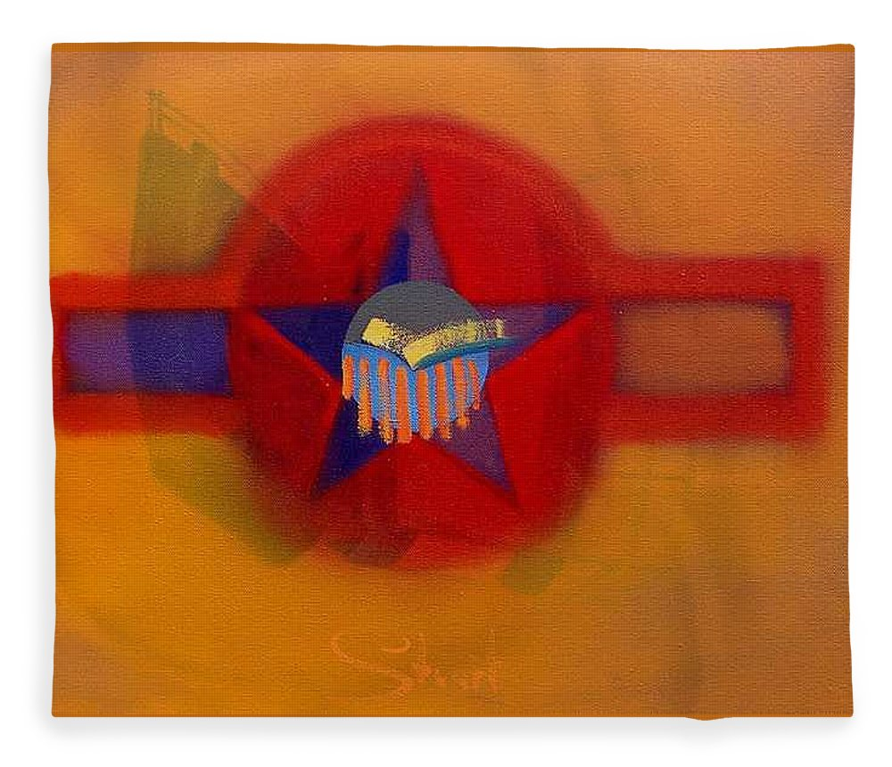 Usaaf Insignia And Idealised Landscape In Union Fleece Blanket featuring the painting American Sub Decal by Charles Stuart