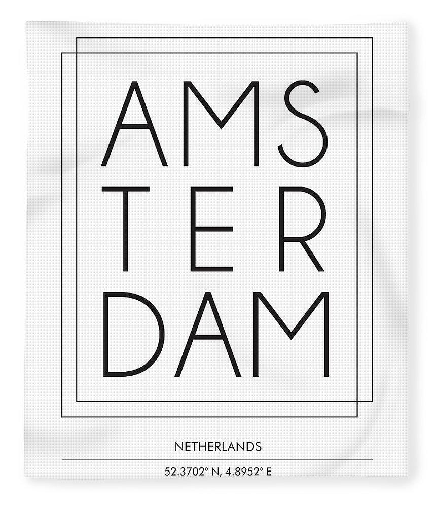 Amsterdam Fleece Blanket featuring the mixed media Amsterdam, Netherlands - City Name Typography - Minimalist City Posters by Studio Grafiikka