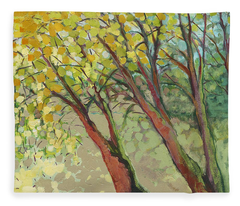 Tree Fleece Blanket featuring the painting An Afternoon at the Park by Jennifer Lommers