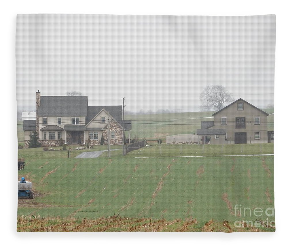 Amish Fleece Blanket featuring the photograph An Amish Family Home by Christine Clark