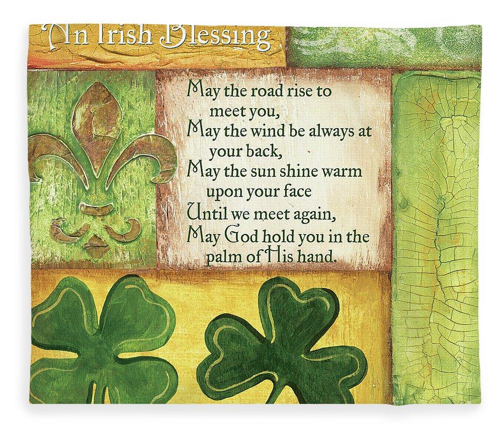 Irish Fleece Blanket featuring the painting An Irish Blessing by Debbie DeWitt