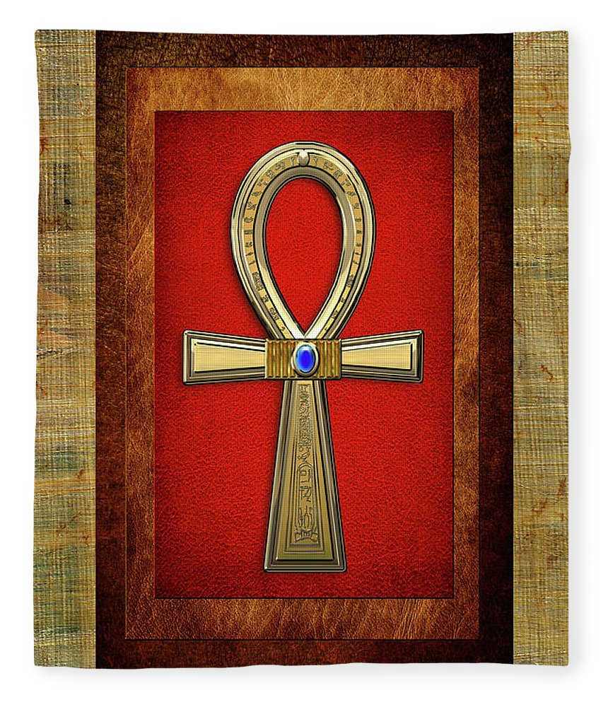 Ancient egyptian sacred cross ankh the key of life fleece blanket treasures of egypt collection by serge averbukh fleece blanket featuring the digital art ancient buycottarizona Images