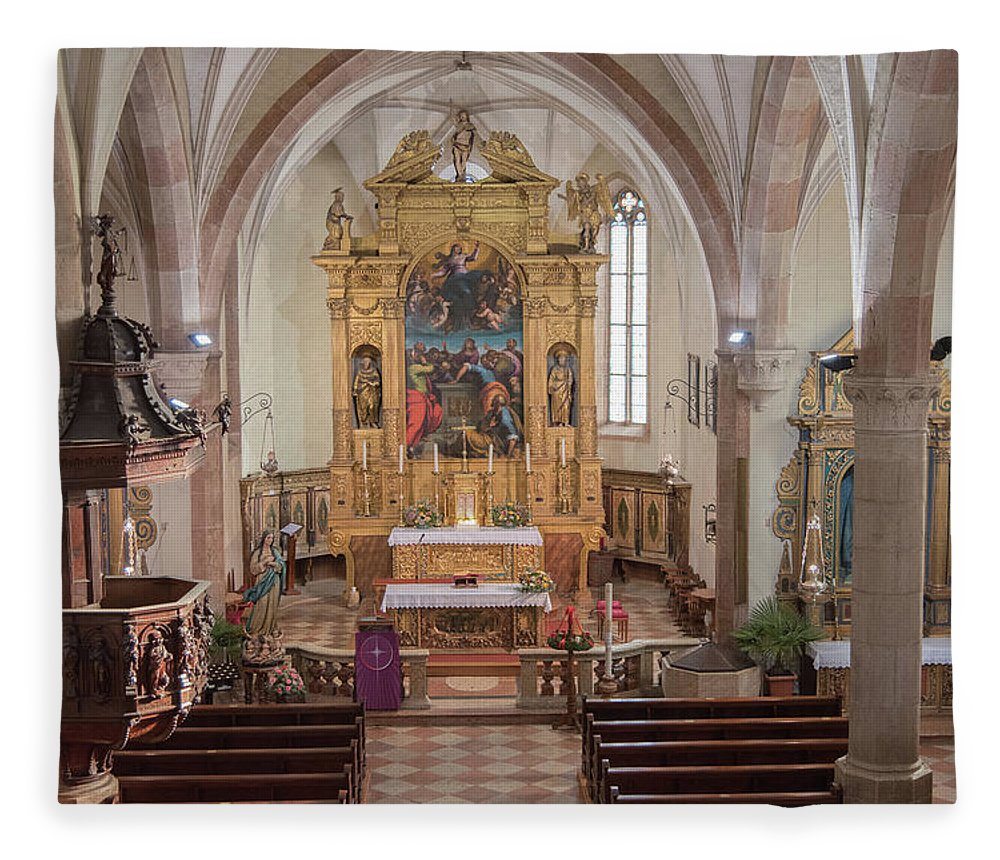 Church Fleece Blanket Featuring The Photograph Ancient Gothic With Magnificent Baroque Altar By Nicola Simeoni