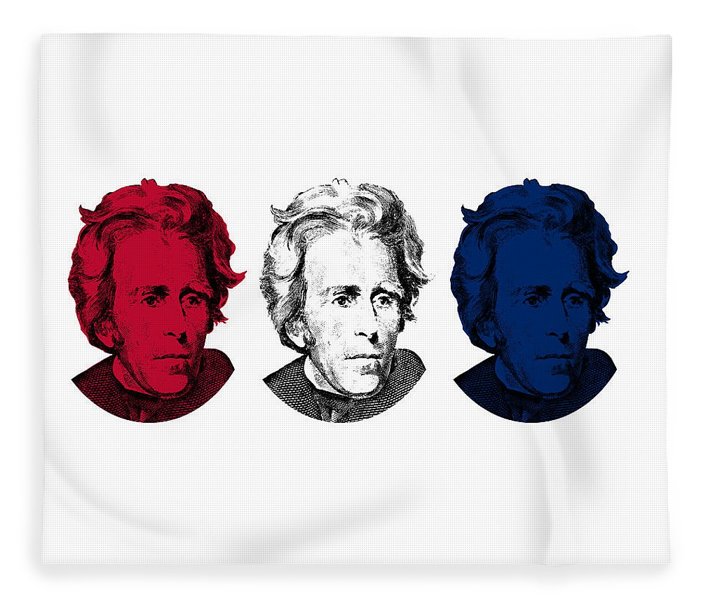 President Jackson Fleece Blanket featuring the digital art Andrew Jackson Red White And Blue by War Is Hell Store
