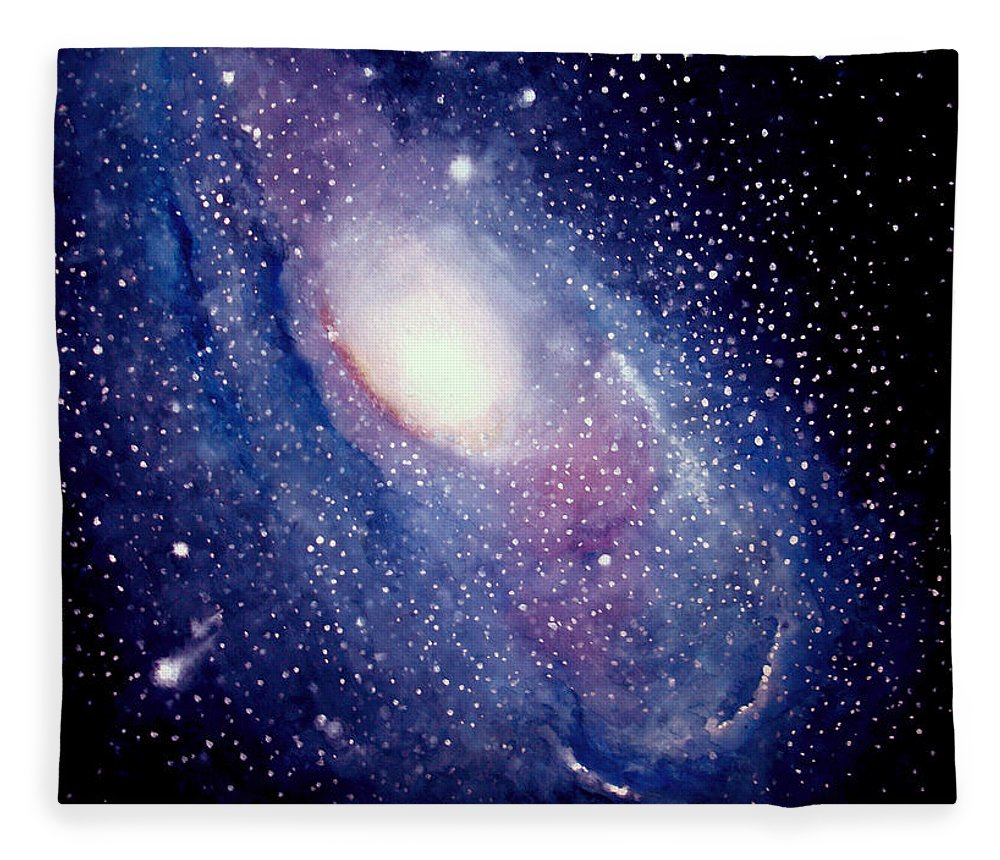 Andromeda Galaxy Fleece Blanket featuring the painting Andromeda Galaxy by Allison Ashton