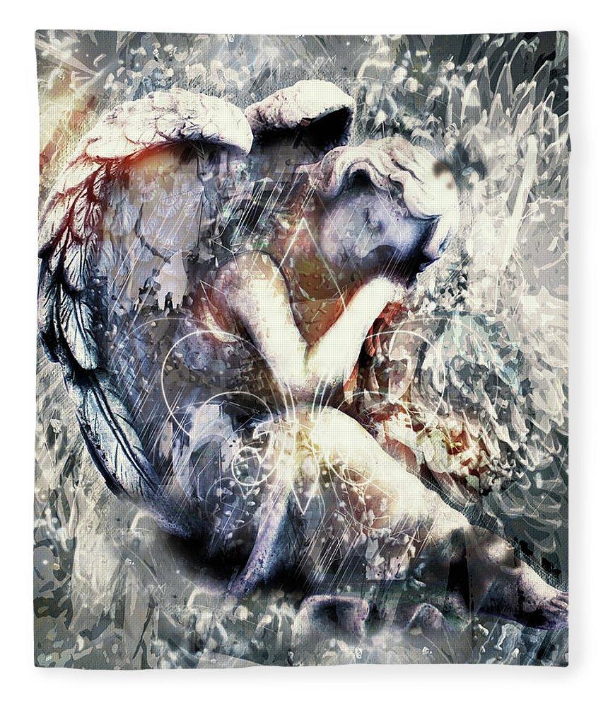 Angel Of Your Dreams Fleece Blanket featuring the digital art Angel Of Your Dreams by Georgiana Romanovna