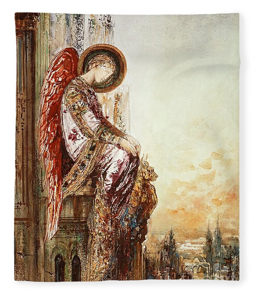 Watercolor Fleece Blanket featuring the painting Angel Traveller by Gustave Moreau