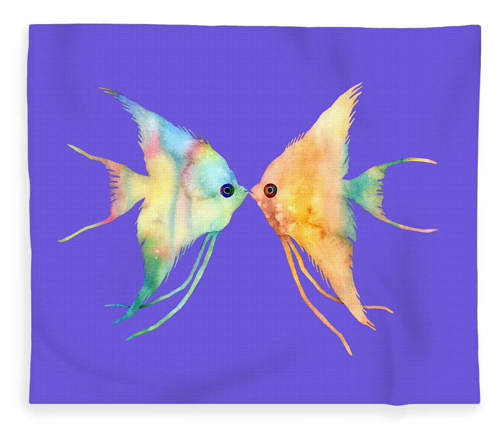 Fish Fleece Blanket featuring the painting Angelfish Kissing by Hailey E Herrera