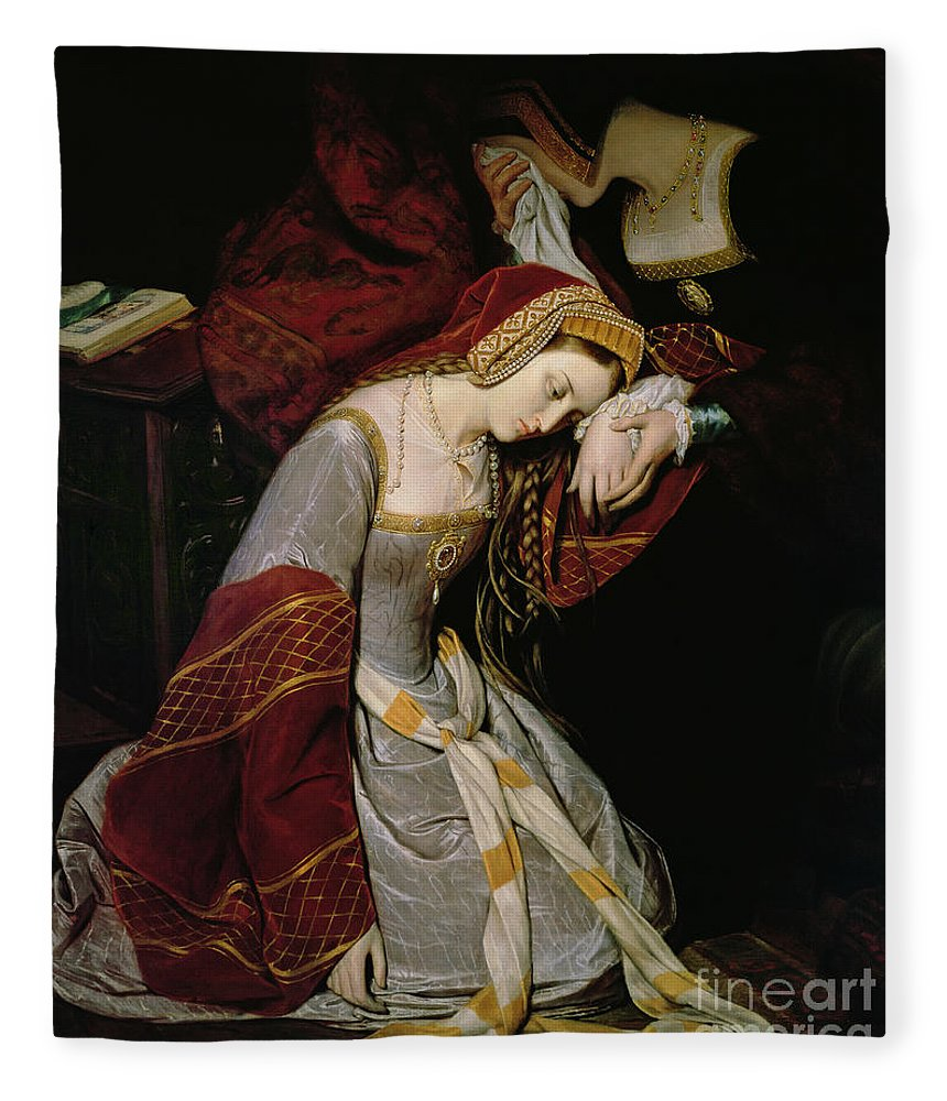 Anne Fleece Blanket featuring the painting Anne Boleyn In The Tower by Edouard Cibot