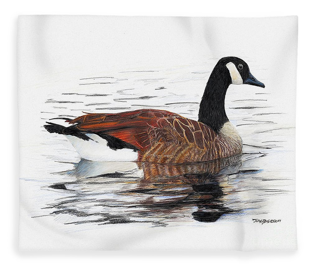 Goose Fleece Blanket featuring the drawing Annie Belle by Kevin Scott Jacobs