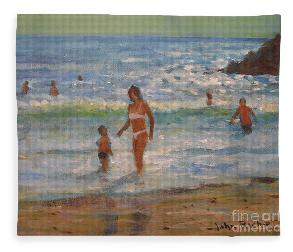 Sea Fleece Blanket featuring the painting Another Hot Day by John Richie