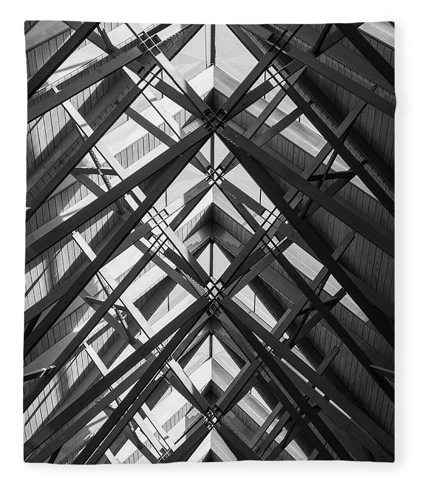 Abstract Fleece Blanket featuring the photograph Anthony Skylights Grayscale by Jennifer White