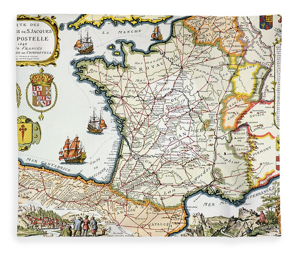 Antique Map Of France Fleece Blanket For Sale By French School - Map of france in french