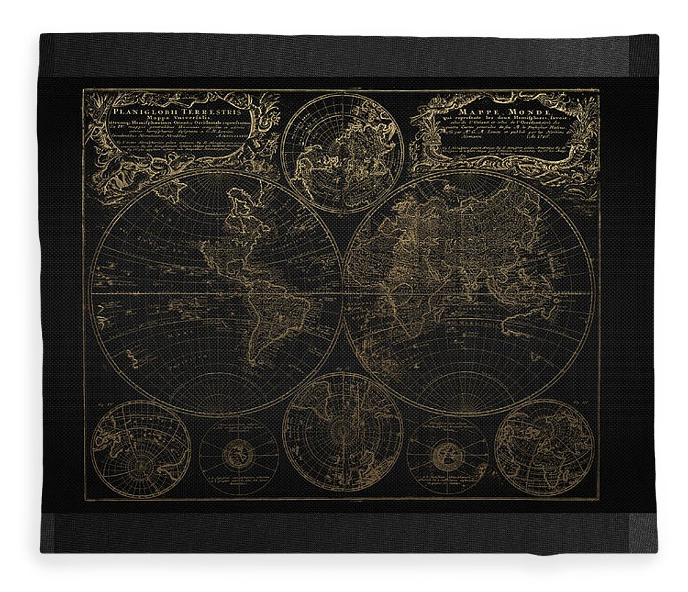 'maps - Cartography Of Past And Present' Collection By Serge Averbukh Fleece Blanket featuring the digital art Antique Map Of The World - Gold On Black Canvas by Serge Averbukh