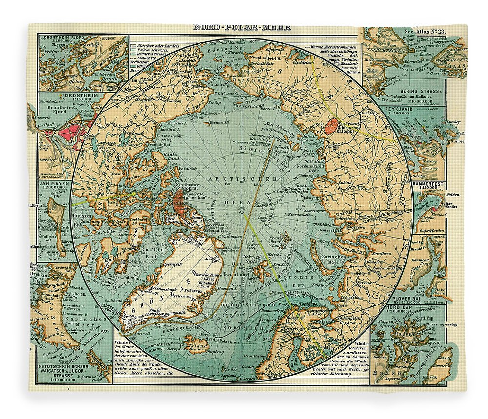 Antique Arctic Ocean Map Fleece Blanket Featuring The Drawing Maps