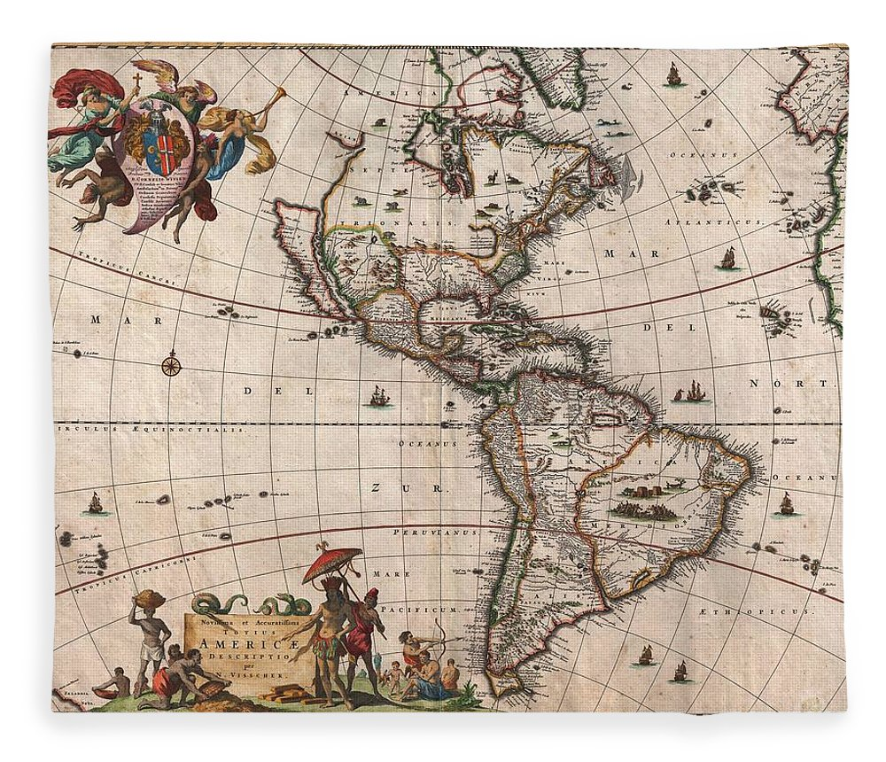 Antique Map Of North America Fleece Blanket featuring the drawing Antique Maps - Old Cartographic maps - Antique Map of North and South America, 1658 by Studio Grafiikka