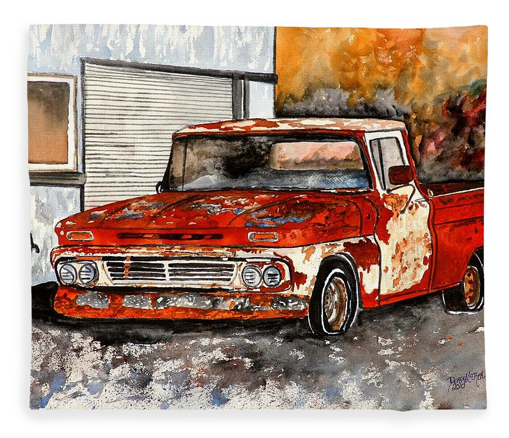 Transportation Fleece Blanket featuring the painting Antique Old Truck Painting by Derek Mccrea