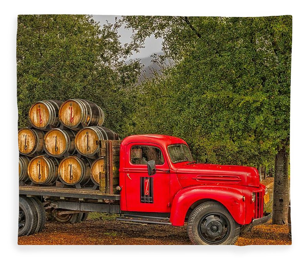 Wine Fleece Blanket featuring the photograph Antique Winery Truck by Mountain Dreams