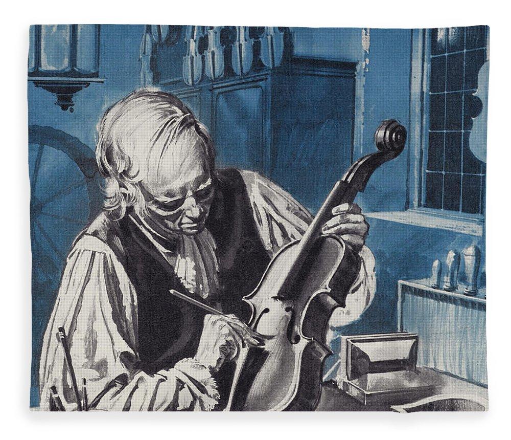 Antonio Stradivari Fleece Blanket featuring the painting Antonio Stradivari by English School
