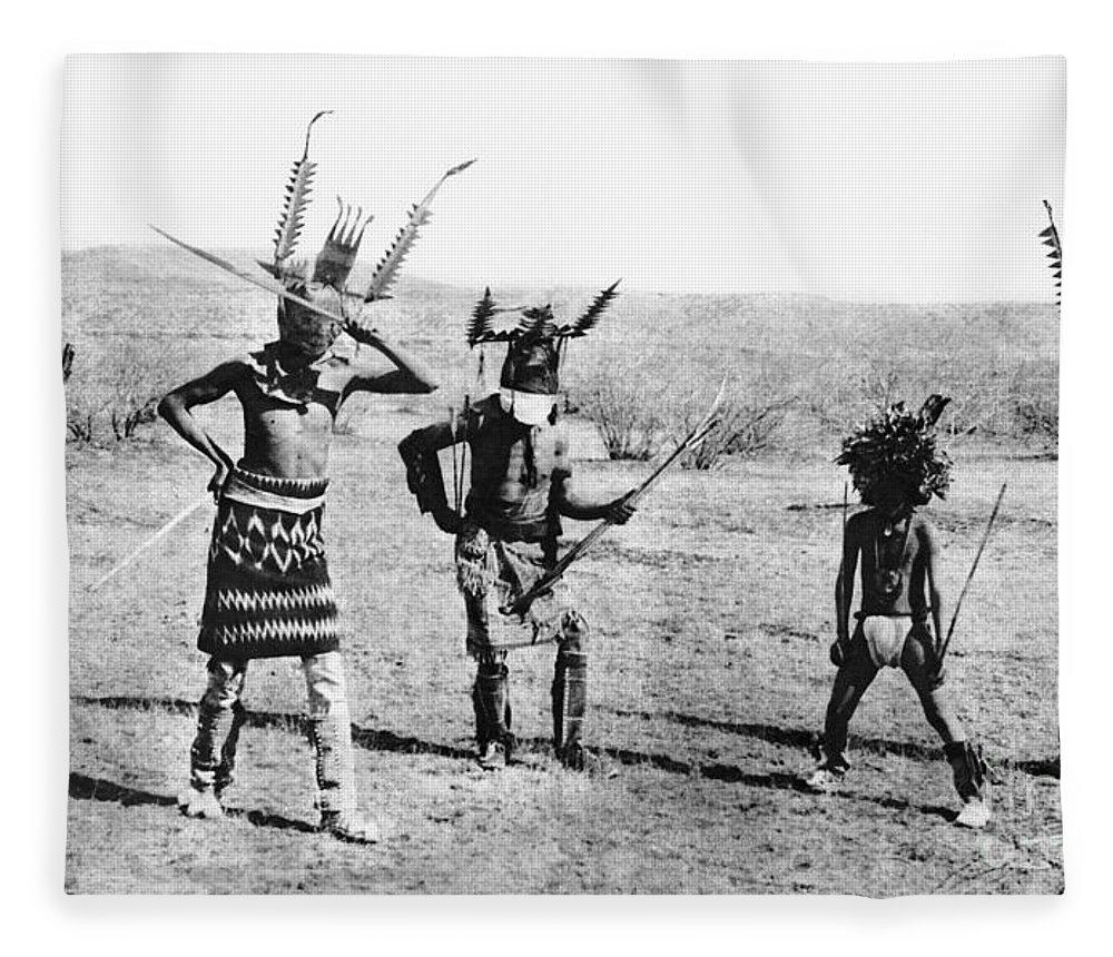 1889 Fleece Blanket featuring the photograph Apache Dance, 1889 by Granger