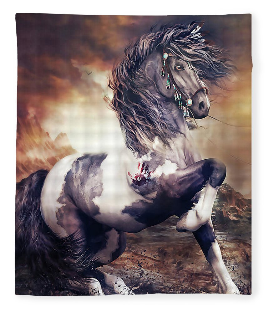 Apache War Horse Fleece Blanket featuring the digital art Apache War Horse by Shanina Conway