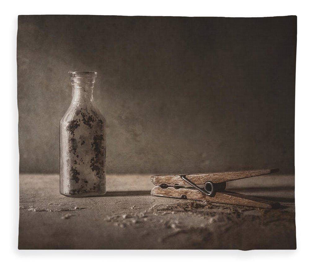 Scott Norris Photography Fleece Blanket featuring the photograph Apothecary Bottle And Clothes Pin by Scott Norris