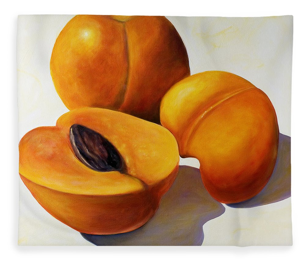 Apricots Fleece Blanket featuring the painting Apricots by Shannon Grissom