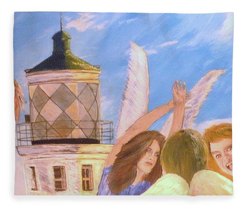 Look April Fleece Blanket featuring the painting Aprils flying by J Bauer