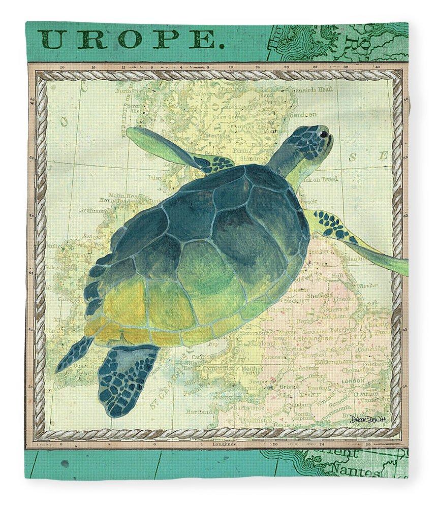 Turtle Fleece Blanket featuring the painting Aqua Maritime Sea Turtle by Debbie DeWitt