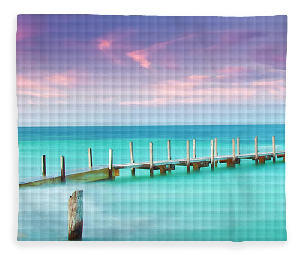 Quindalup Boat Ramp Fleece Blanket featuring the photograph Aqua Waters by Az Jackson