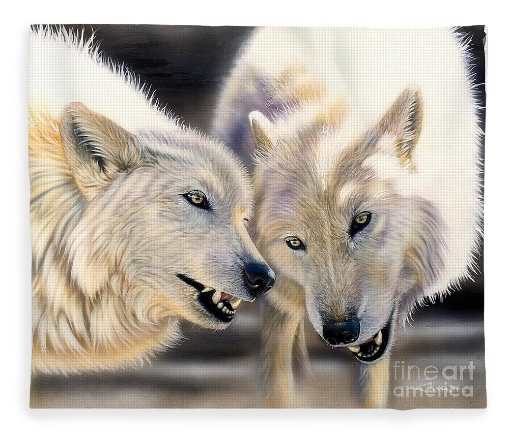 Acrylics Fleece Blanket featuring the painting Arctic Pair by Sandi Baker