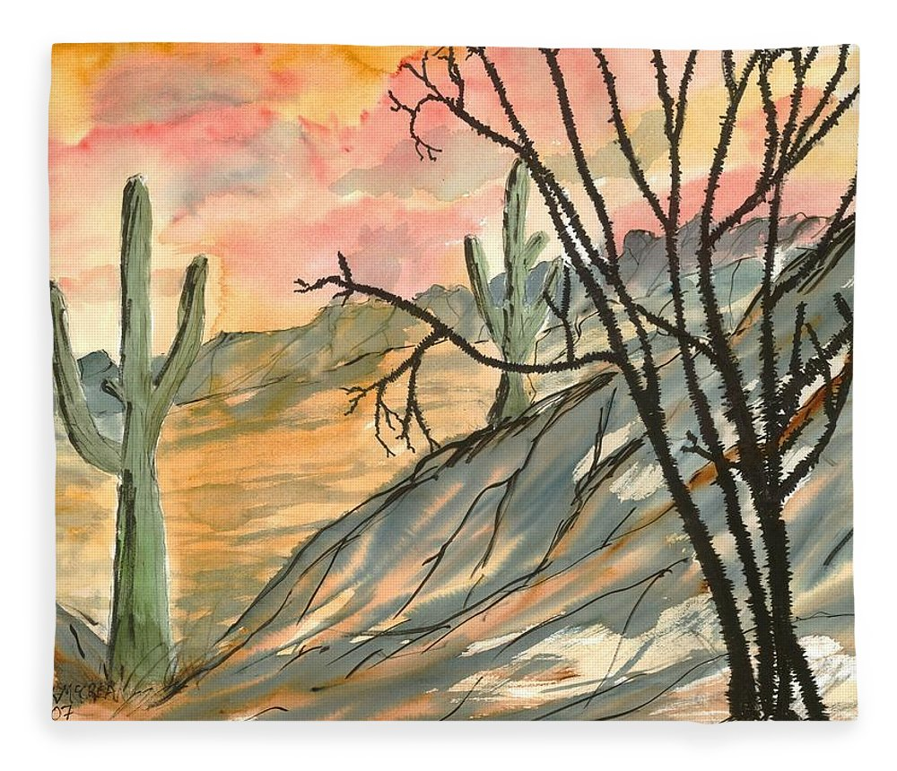 Drawing Fleece Blanket featuring the painting Arizona Evening Southwestern landscape painting poster print by Derek Mccrea