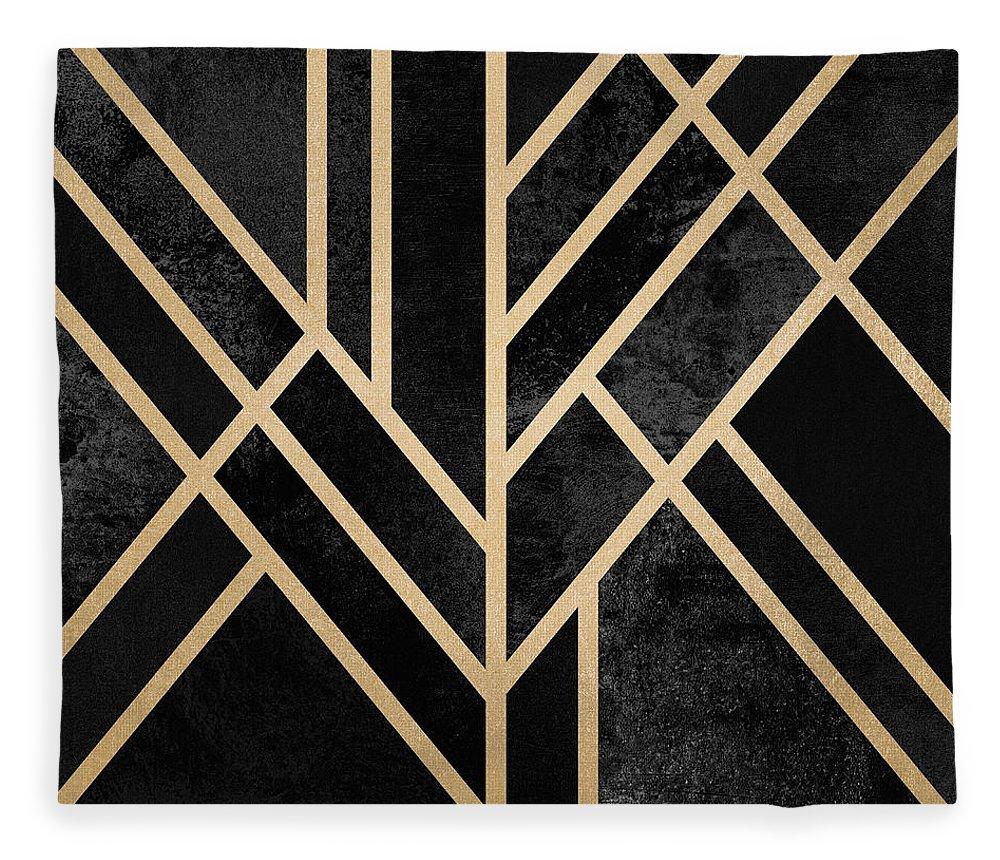 Digital Fleece Blanket featuring the digital art Art Deco Black by Elisabeth Fredriksson