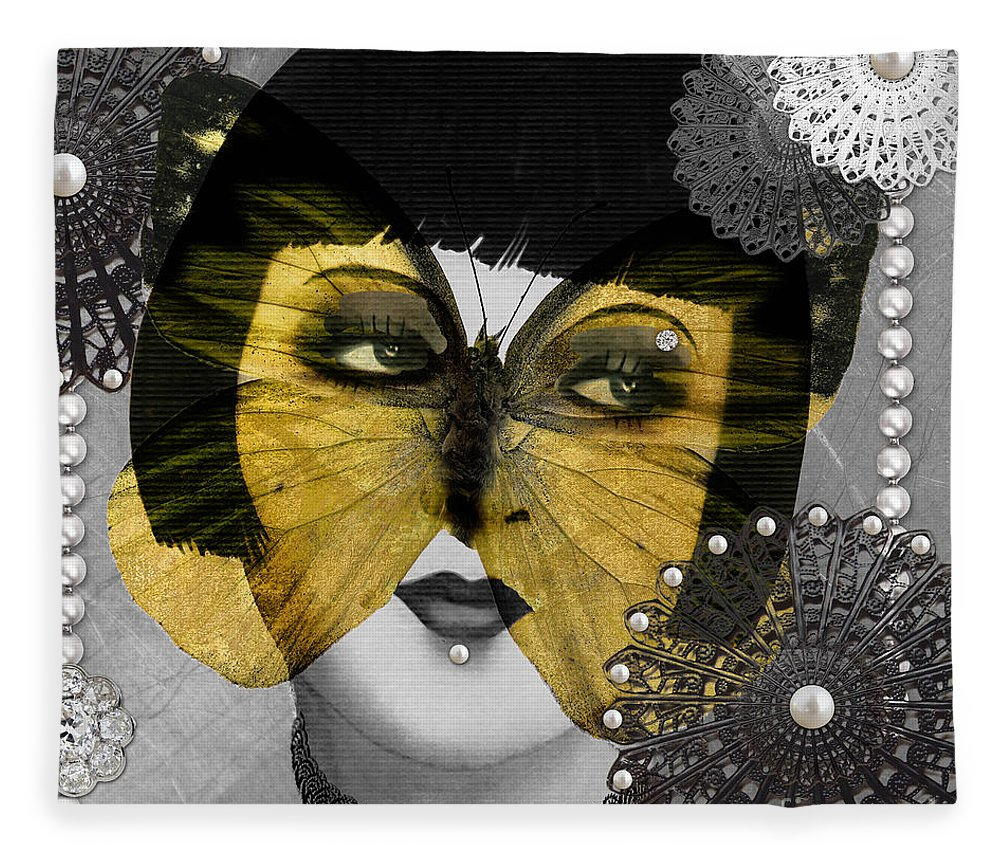 Art Deco Butterfly Woman Fleece Blanket for Sale by Mindy Sommers