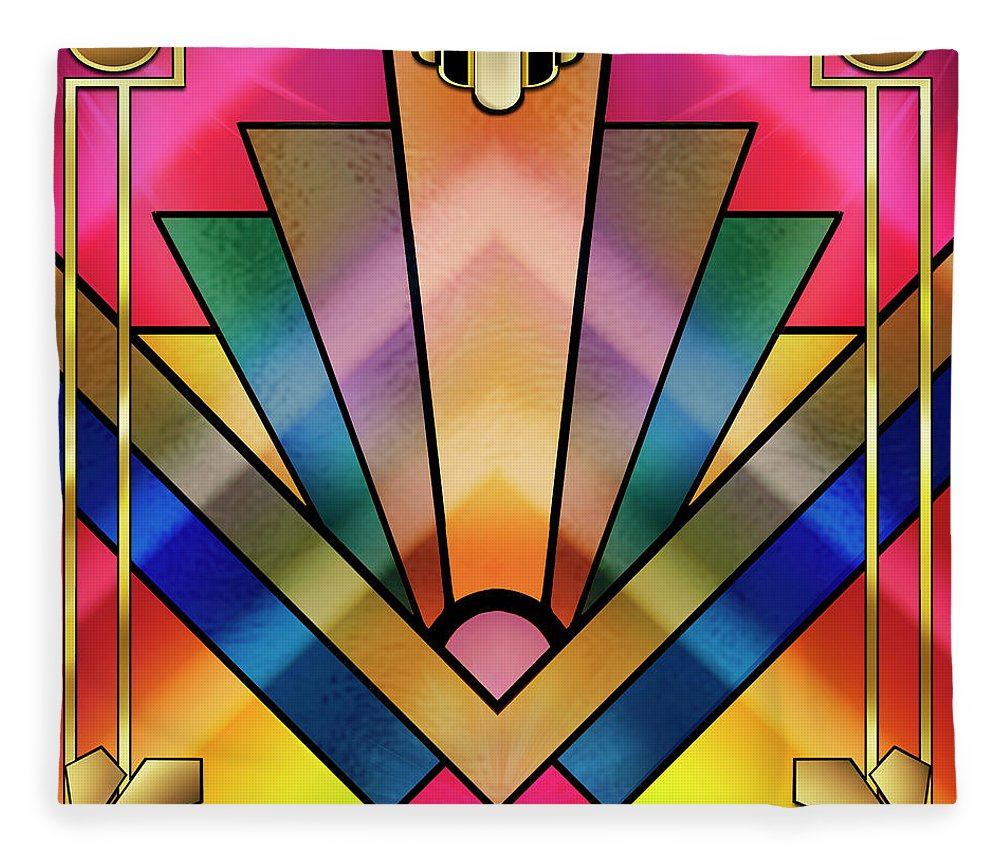 Art Deco Fleece Blanket featuring the digital art Art Deco Chevron 6 by Chuck Staley