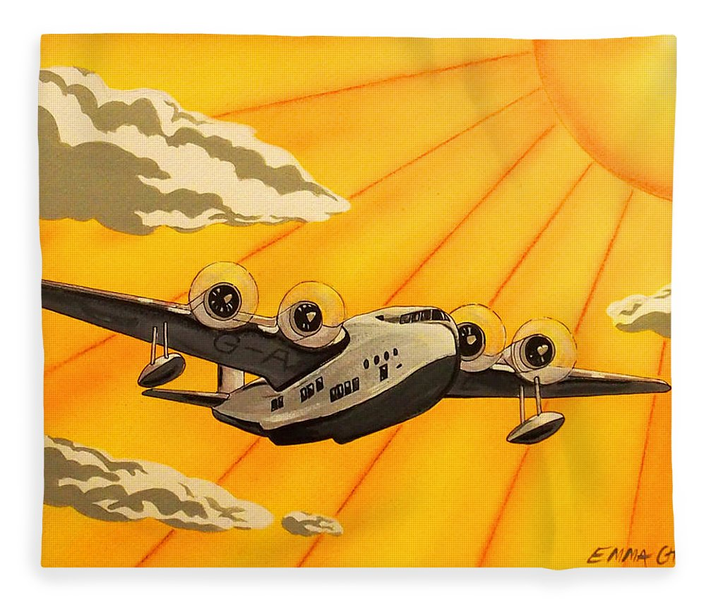 Art Deco Plane Poster Fleece Blanket for Sale by Emma Childs