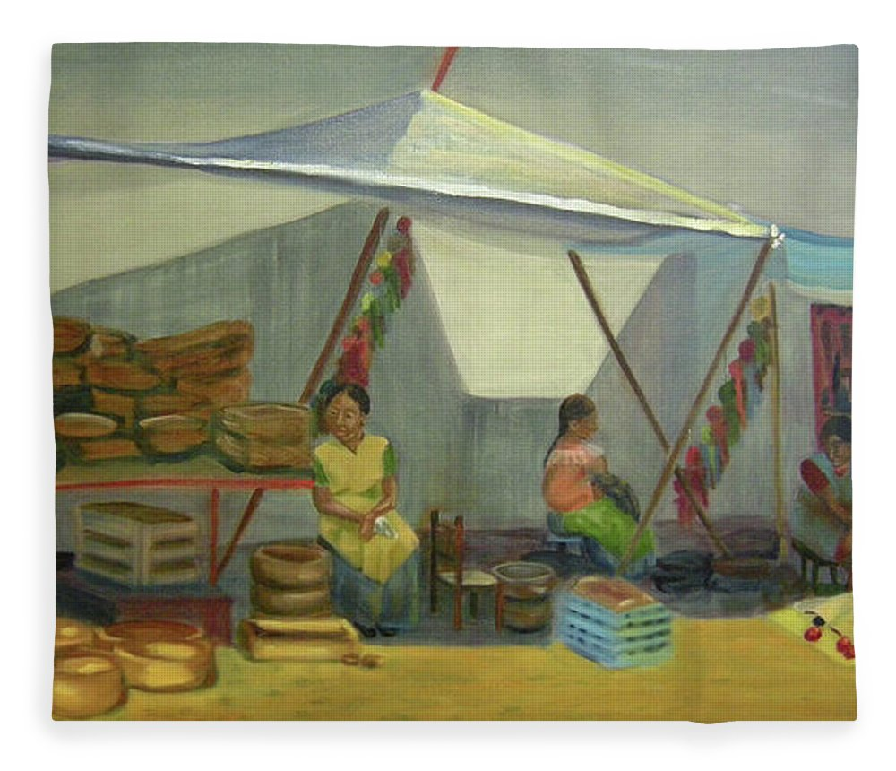 Mexico Fleece Blanket featuring the painting Artesanas by Lilibeth Andre
