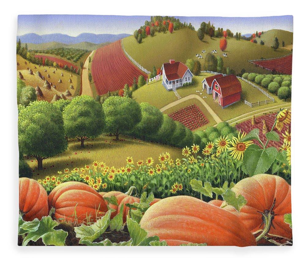 Pumpkin Fleece Blanket featuring the painting Farm Landscape - Autumn Rural Country Pumpkins Folk Art - Appalachian Americana - Fall Pumpkin Patch by Walt Curlee