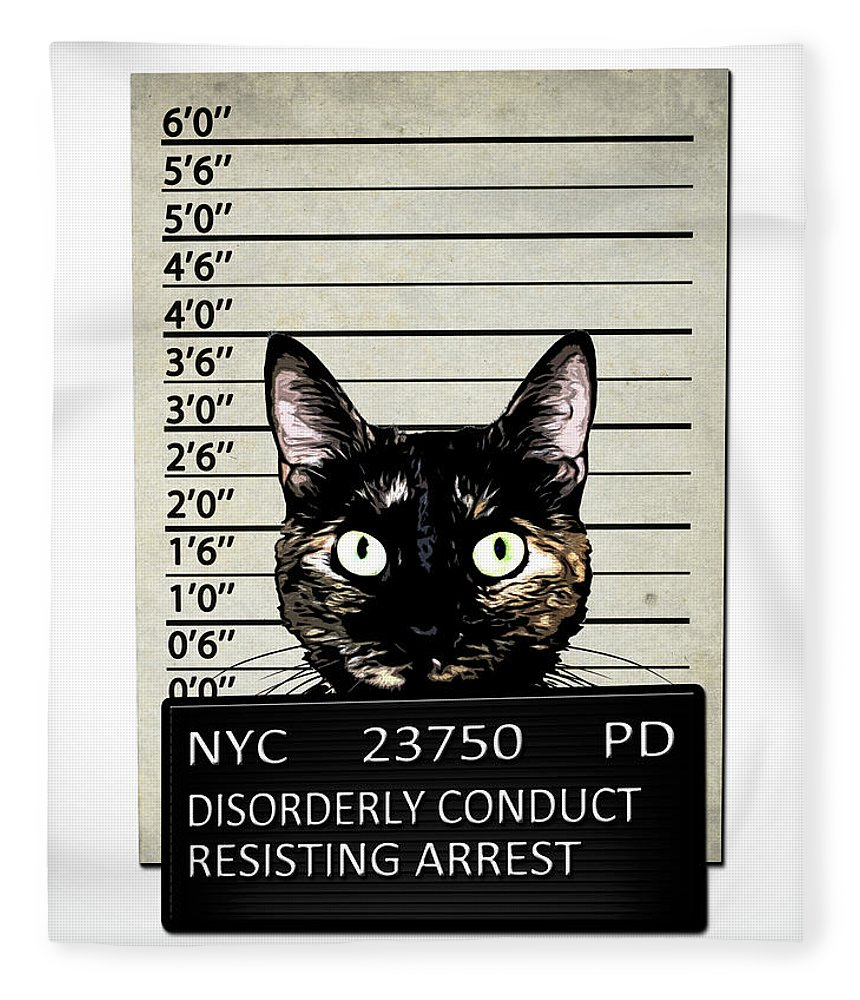 Cat Fleece Blanket featuring the mixed media Kitty Mugshot by Nicklas Gustafsson