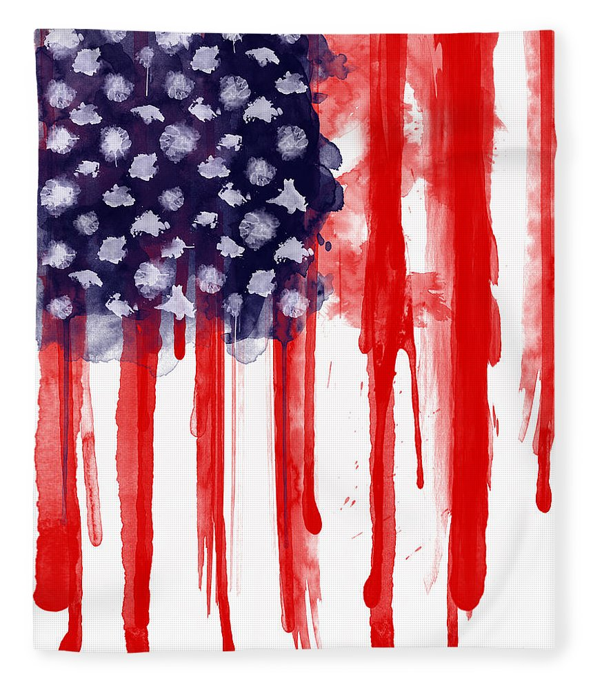 America Fleece Blanket featuring the painting American Spatter Flag by Nicklas Gustafsson