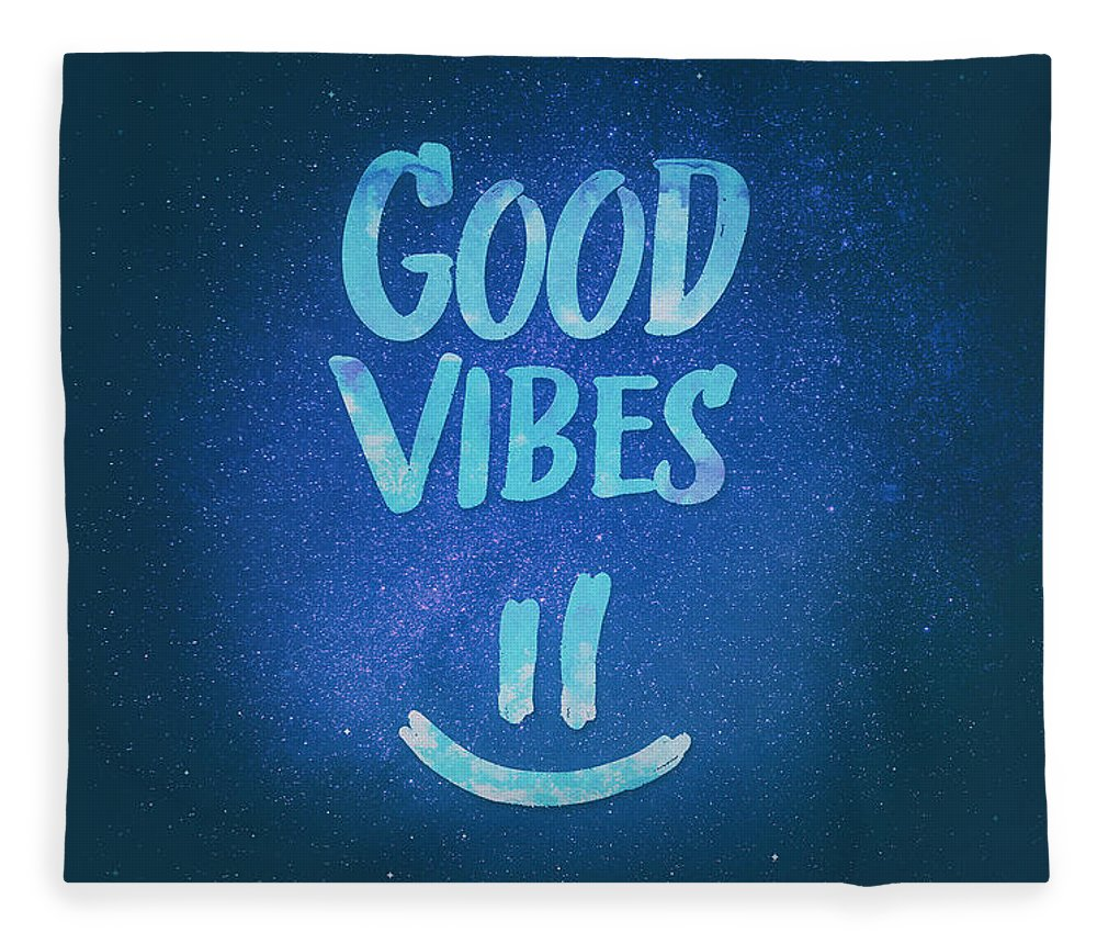 Good Vibes Fleece Blanket featuring the digital art Good Vibes Funny Smiley Statement Happy Face Blue Stars Edit by Philipp Rietz