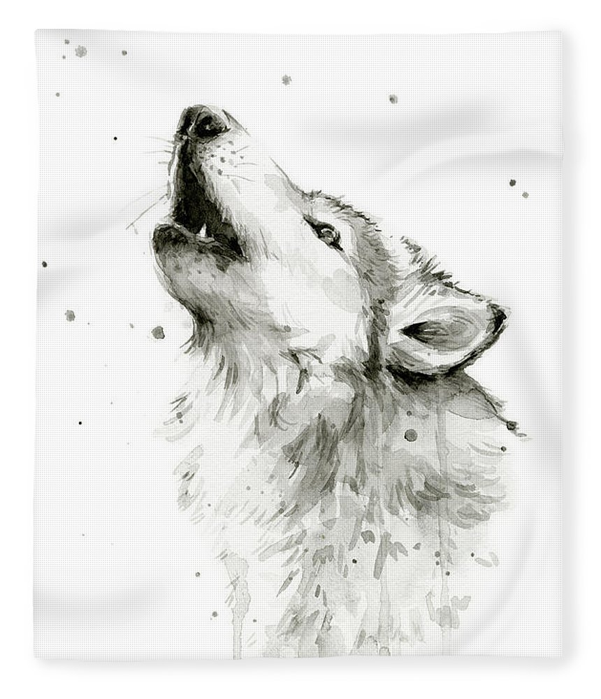 Watercolor Fleece Blanket featuring the painting Howling Wolf Watercolor by Olga Shvartsur