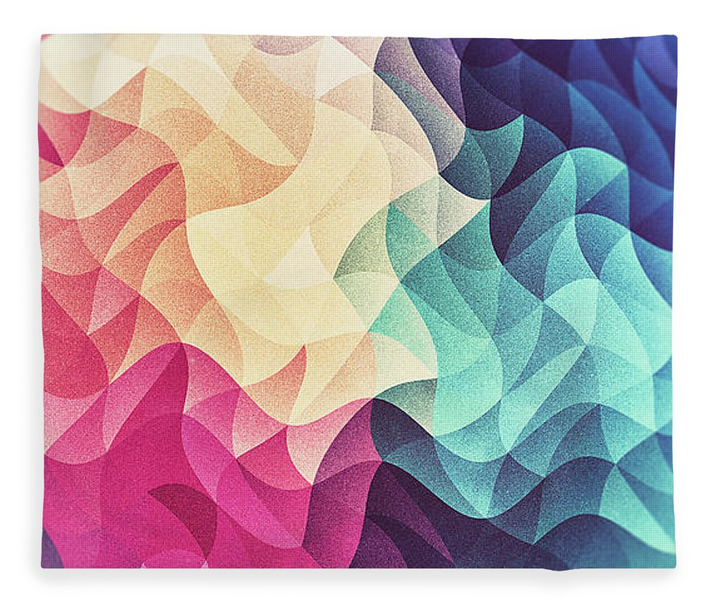 Triangle Fleece Blanket featuring the digital art Geometry Triangle Wave Multicolor Mosaic Pattern Hdr  Low Poly Art by Philipp Rietz
