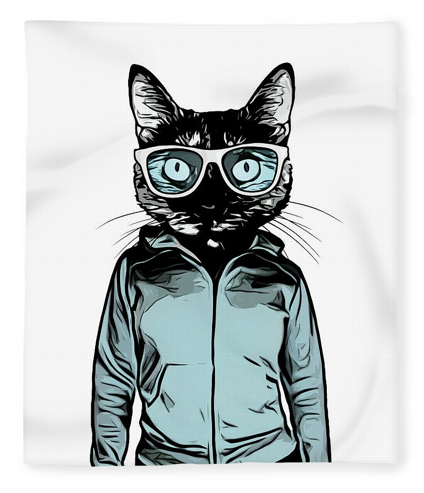 Cat Fleece Blanket featuring the mixed media Cool Cat by Nicklas Gustafsson