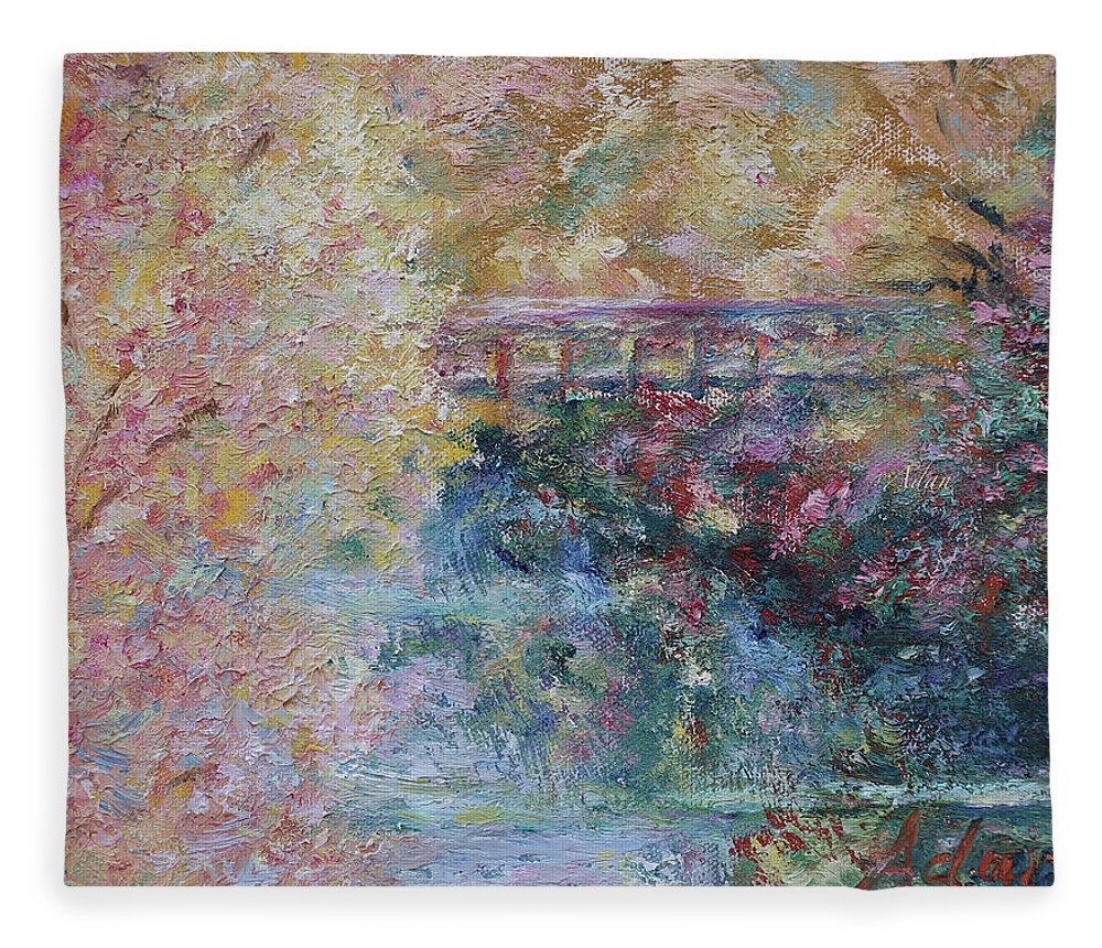 Fall Colors Fleece Blanket featuring the painting Birds Boaters And Bridges Of Barton Springs - Autumn Colors Pedestrian Bridge by Felipe Adan Lerma