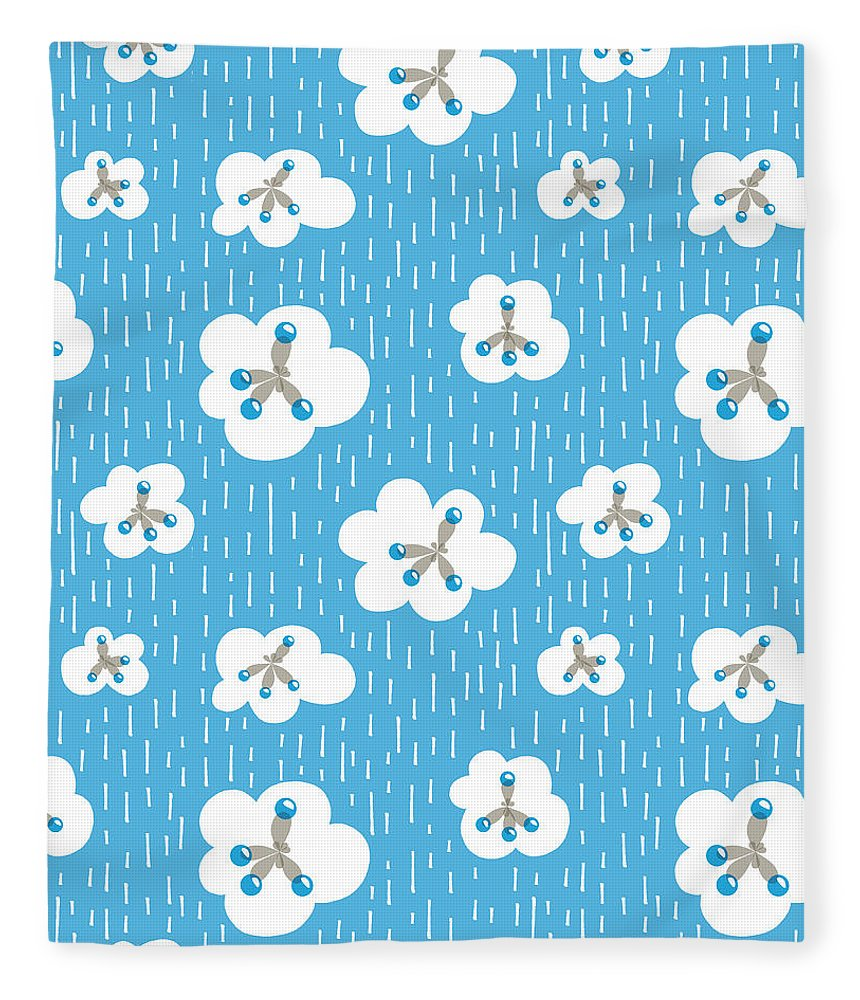 Environment Fleece Blanket featuring the digital art Clouds And Methane Molecules Pattern by Boriana Giormova