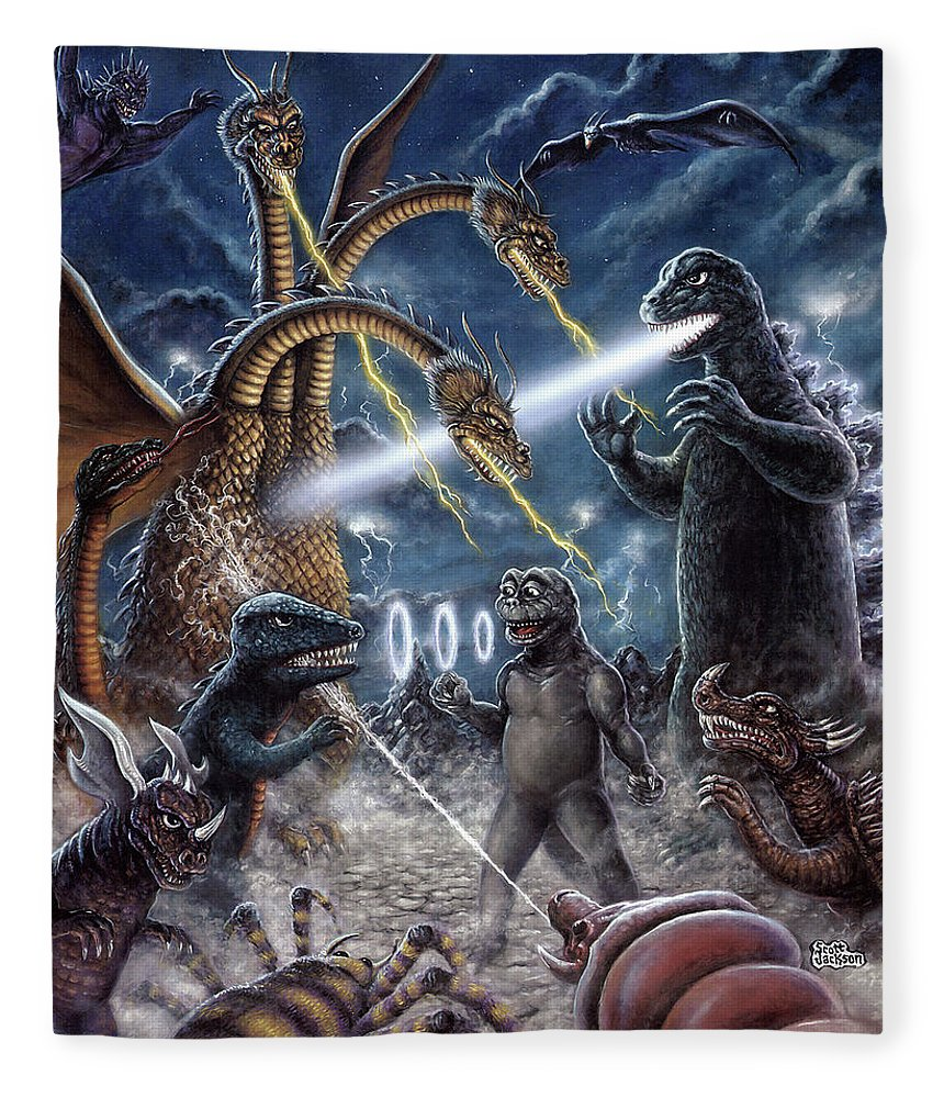 Art & Collectibles Fleece Blanket featuring the painting Destroy All Monsters Godzilla Kaiju Battle Monster Island by Scott Jackson