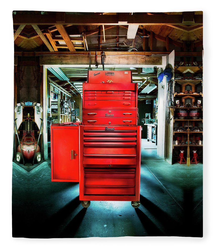 Box Fleece Blanket featuring the photograph Mechanics Toolbox Cabinet Stack In Garage Shop by YoPedro
